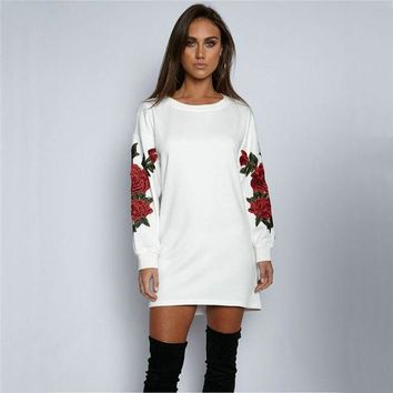 VON7TL Round-neck Long Sleeve Floral Hoodies [256934215706]