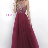 Blush Beaded Illusion Neck A-line Dress- Sangria/Gold
