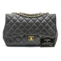 Chanel Jumbo Black Caviar Leather Classic Flap Bag with Gold Hardware
