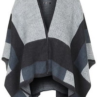 Tonal Knitted Cape - Navy Blue