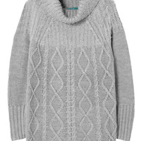 Light Gray Cable Knit Long Sweater