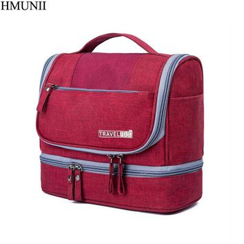 HMUNII Hanging Toiletry Bag Travel Women Cosmetics Bag Waterproof Oxford Organizer for Wet and dry separation makeup Kit for Men