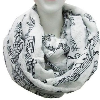 Free Shipping 2018 New Fashion White Burgundy Navy Music Note Sheet Music Piano Notes Script Print Scarves Infinity Scarf