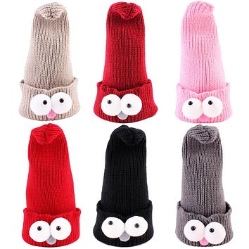 Children Big Eyes Hat Baby Knitted Hats Infant Cartoon Winter Newborn Hat Boys Girls Cute Warm Cap