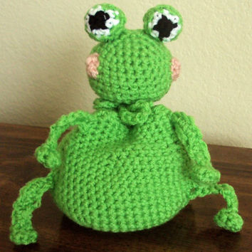 Crocheted Frog Pouch - Dice Bag, Coin Purse, Amigurumi
