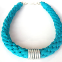 Tshirt yarn Necklace, Cotton Necklace, Turquoise Necklace, Aquamarine Necklace, Kumihimo Necklace, Cotton choker, Cotton Jewelry.