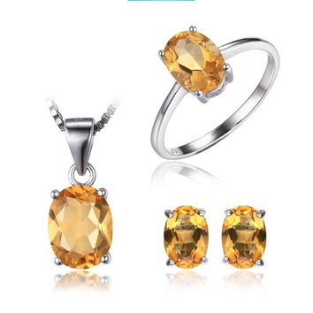 Natural Citrine Stone Sterling Silver Jewelry Set