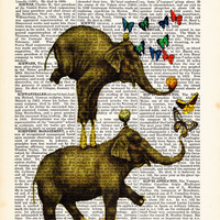 Balancing elephant print,  Book Page,Dorm Decor, Dictionary Print, Elephant Poster, Gift Print-Home Dorm, Wall Decor Gift