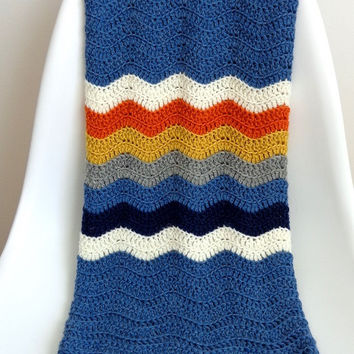 Unisex Wool Crochet Baby Blanket Blue Ripples & Colorful Stripes