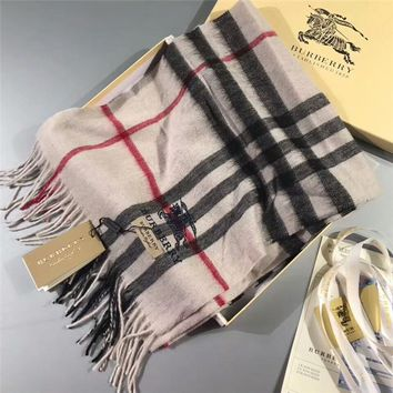 Best Online Sale Luxury Burberry Keep Warm Scarf Embroidery Scarves Winter Wool Shawl - Multicolor 3