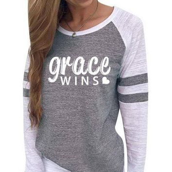Grace Wins Women's Baseball Jersey Christian Semi-Fitted Long Sleeve Shirt