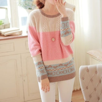 Fashion Women's Sweater Round Neck Long Sleeve Pullover Pastel Colors Sweater = 1919956996