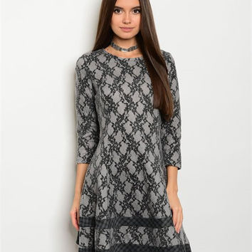 GRAY BLACK LACE DRESS