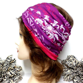 Hot Pink. Purple & White Headwrap, Yoga Headband, Wide Headband, Running Headband, Workout Headband, Turban Headband, boho, scarf, wrap