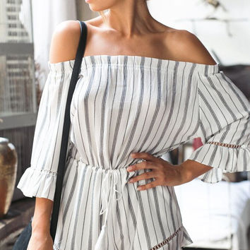 Fashion Casual Off Shoulder Long Sleeve Loose Stripe Romper Jumpsuit Shorts