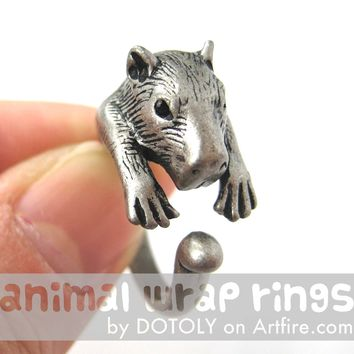 Large Capybara Wombat Animal Wrap Around Hug Ring in Silver - Size 4 to 10 Available