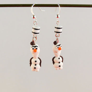 Xmas dangle earrigns, jewelry with Olaf character from Frozen movie