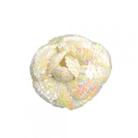 Chanel White Sequin Camellia Flower Brooch Pin
