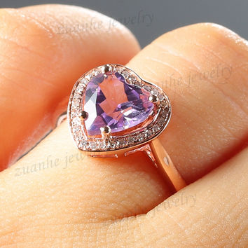 Solid 10k Rose Gold Natural Diamonds Fine 8MM Heart Cut Amethyst Engagement Ring Women Wedding Jewelry