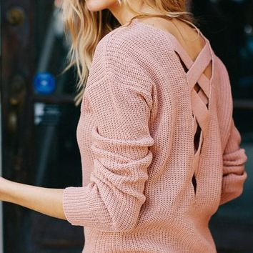 Dance With Me V Neck Lace Up Open Back Sweater (Blush)