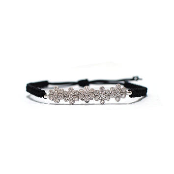flower cord bracelet, zircon Silver plated Flowers point and Black knot cord bracelet accessory