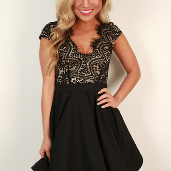 Grand Entrance Lace Open Back Dress in Black