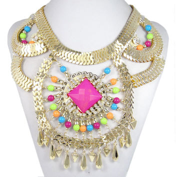 Huge Art Pink Bead Bold Gold Necklace, Chunky Choker Bib Statement Necklace Make You Charming-153701011