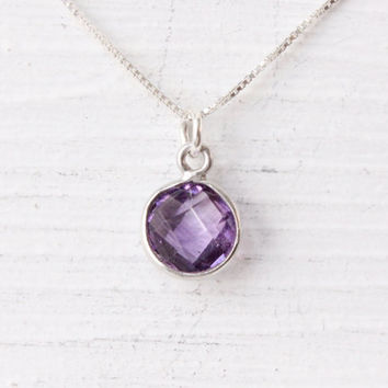 Amethyst necklace, sterling silver with genuine gemstone, February birthstone, February birthday gift, bezel gem, purple necklace, box chain