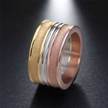 ZORCVENS Cool Men Punk 3 Colors 316L Stainless Steel Big Ring for Women Party Jewelry