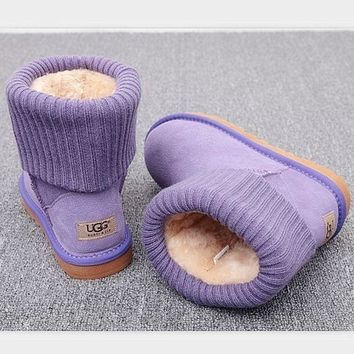 CHEN1ER UGG Fashion Plush leather boots boots in tube Boots Purple
