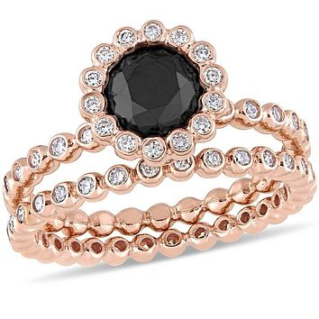 2 CT. T.W. Enhanced Black and White Diamond Frame Bridal Engagement Ring Set in 14K Rose Gold