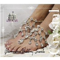 Crystal Barefoot Sandals | Beach Wedding Sandals | rhinestone beach wedding barefoot sandals | crystal foot jewelry