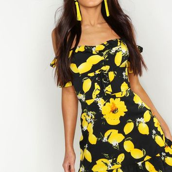 Off The Shoulder Lemon Print Mini Dress | Boohoo