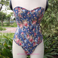 New Blue Pattern Straspless Bustier Lingerie Boned Overbust Lace Up Back Denim Floral Corset Top