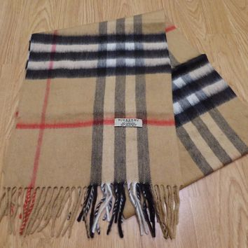 Burberry Unisex Classic Multi Color Checked Pattern Long Warm Cashmere Scarf