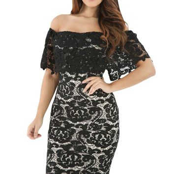 Black Lace Off Shoulder Bodycon Dress with Beige Lining