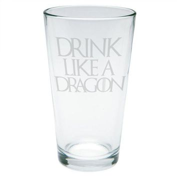PEAPGQ9 Drink Like a Dragon Etched Pint Glass