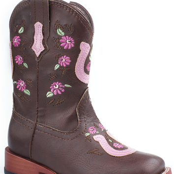 Roper Infant Bling Sqtoe Faux Leather Sole Boots Floral Embroidery Horseshoe Overlay