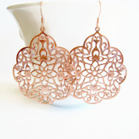 Rose Gold Earrings Rose Gold Filigree Statement Earrings Moroccan Earrings Boho Earrings Gypsy Earrings Lacy Lightweight Blush Pink Gift