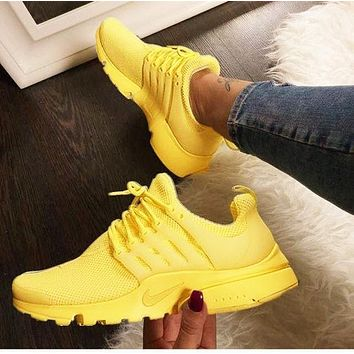 """NIKE""Air Presto Fashion Women Men Casual Running Sport Shoes Sneakers Yellow"