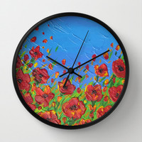 clocks for wall clock with tfield of poppies blowing in the wind red flowers created with palette knife on clock for bedroom or kitchen wall