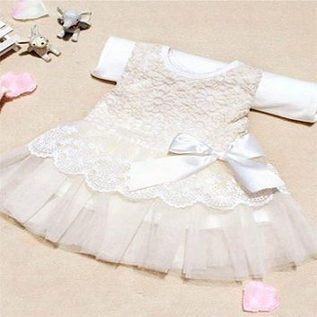 Baby Girls Sleeveless Lace Lances Princess Dress Kids With Bow Belt Dress Baby Clothes Brands 2017
