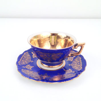 Antique Elegant China Winterling Bavaria Germany Demitasse Teacup and Saucer Cobalt Blue and Gold Little Princess Birthday Party