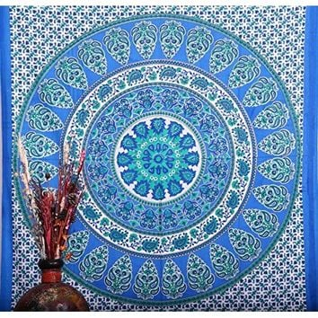 Royal Blue Indian Mandala Tapestry/wall Hanging, Bedsheet, Superior Quality Hippie Wall Tapestry or Bedspread in Organic Cotton
