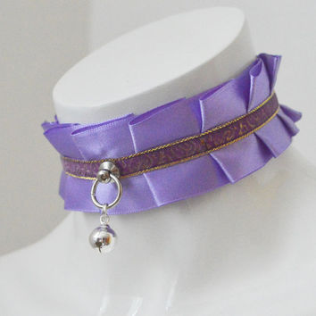 Kitten play collar - Runes arcane - ddlg little princess bdsm choker with bell - kawaii cute fairy kei violet lilac golden and violet