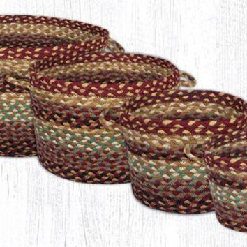 Set of 4 Jute Braided Utility Baskets Burgundy/Gray/Cream