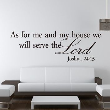 We Will Serve The Lord Christian Wall Paper Decals vintage kitchen Bedroom Living Room Wall Sticker Home decoration