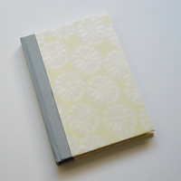 Case Binding Notebook - Handbound Yellow Journal with White Flowers - Great Stocking Stuffer