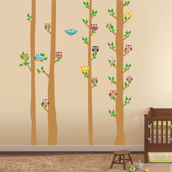 kcik1694 Full Color Wall decal bedroom children's Custom Baby Nursery tree nusery decal tree forest owl birds