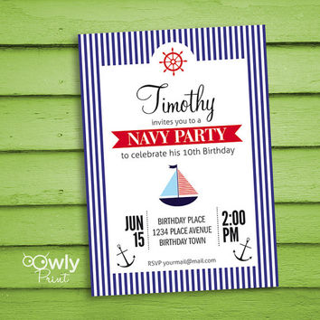 Printable Personalized Boy Birthday Invitation. Ready to print Navy Birthday Invitation. PDF  Boy Birthday Invitation,